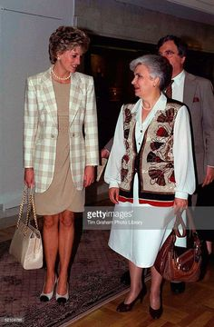 Princess Diana With The Russian Social Services Minister Ms Bezlepkina During Her Visit To Moscow.