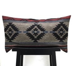 Wool Pillow Cover, 16x28 Lumbar Pillow, Decorative Southwest Style, Modern and Masculine Pillow, Winter Decor by ainthatastitch on Etsy