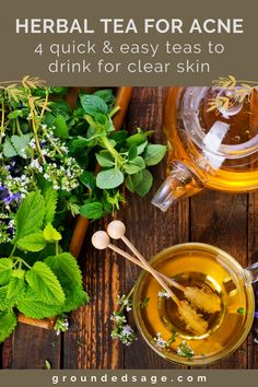 The best herbal tea blends for hormonal acne. The benefits of herbal teas for clear skin for adult acne. Holistic health remedies. Natural healing tips for organic beauty health and wellness. Healthy living with herbs for better health including the benefits of burodck, nettle, dandelion root and red raspberry leaf tea. Drink these for glowing skin - acne foods (what food and drinks get rid of acne). Natural Home Remedies, Natural Healing, Herbal Remedies, Health Remedies, Natural Skin, Holistic Remedies, Holistic Healing, Best Herbal Tea, Herbal Teas