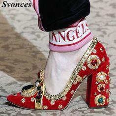 8dc2f3acb 57.73 28% de DESCUENTO|Knsvvli nuevo T tipo Color mezclado venda Chunky  zapatos de tacón alto mujeres Jewelled flor mujeres bombas Rhinestone perla  ...