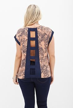 Such a pretty top! Cutout Lace Print Top | FOREVER 21 - 2000120488