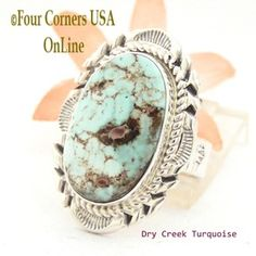 Size 9 Dry Creek Turquoise Large Stone Ring Thomas Francisco Navajo Silver Jewelry NAR-1688 Four Corners USA OnLine