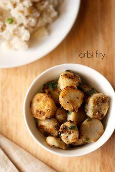 arbi fry recipe, how to make arbi fry | navratri vrat recipes