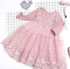 Anastasia Dusty Rose Ribbed Lace Girls Dress