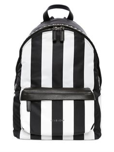 ae9244d42d0e GIVENCHY - STRIPED COTTON CANVAS   LEATHER BACKPACK - LUISAVIAROMA - LUXURY  SHOPPING WORLDWIDE SHIPPING -
