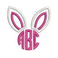 """Bunny Ears Monogram Applique Design For Machine Embroidery shown with our """"Circle 3 Letter"""" Font INCLUDED Instant Download now available"""
