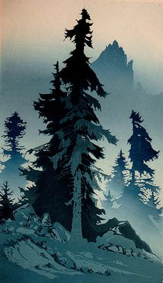 ✨ Oscar Droege (1898-1983) - Hohe Tannen, Farb-Holzschnitt ::: High Fir Trees, Colour Woodcut