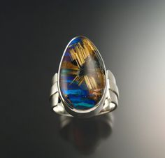 Rutilated Quartz and Blue Lab Opal ring Extra by stonefeverjewelry, $1365.00