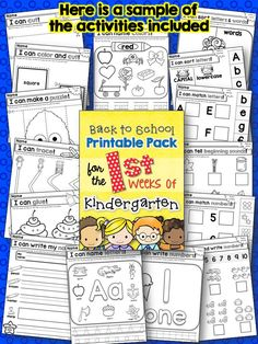 Back to School Printables activities for the First Weeks of Kindergarten!  Everything I need-- cutting, gluing, letters and numbers, colors, this pack has me covered for the first month! $