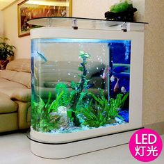 Bullet fish tank living room home medium aquarium glass 1 2 M 1 5 m ecological floor screen fish tank - Creative ecology Goldfish Aquarium Tank warhead super white glass bar custom sized meters tropi -