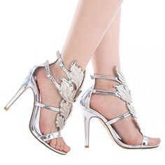 6d6d894a0f Shoe'N Tale Women's High Heel Gladiator Sandals Gold Flame Party Dress  Stiletto Shoes (5.5 B(M) US, Silver)