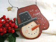 Primitive Let it Snow Mitten Ornament by VintageTrimmings on Etsy