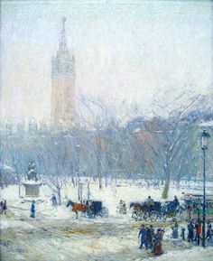 Childe Hassam (American, Impressionism, 1859-1935): Snowstorm, Madison Square, c. 1890. Oil on canvas, 20.25 x 16 inches. Peabody Art Collection, The Maryland Commission on Artistic Property, USA.