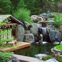 bassin aquatique : aménagement extérieur avec chute d'eau