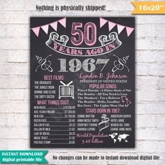 50th Birthday Chalkboard Poster Sign 50 Years Ago by DigitalBoard
