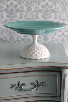 "Aqua Cake Stand / 12"" Ceramic Cake Stand Pedestal / Cupcake Stand / Macaron Tray Platter for French Macarons / Cake Pop Stand for Cake Pops on Etsy, $80.00"