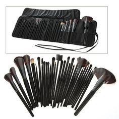 32 PCS Makeup Brush Set + Black Pouch Bag by TOMTOP. $17.99. Total 32 brushes for facial makeup: Foundation Brush, Concealer Brush, Eyeshadow Brush, Eyebrow Brush, Blush Brush, Lip Brush, Mascara Brush. An essential for not only professionals but also DIY users.. Gorgeous black soft leather bag, easy to collect and carry brushes.. Adopts natural pure goat hair which provides superb ability to hold powder, soft and pleasing for your skin.. This item includes alm...