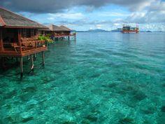 Pulau, Sipadan; water bungalows in Malaysia