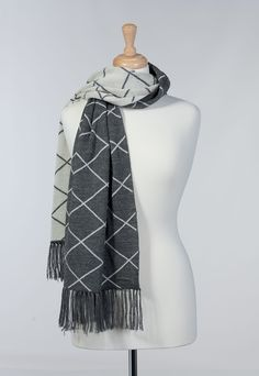 NAPOLI Winter Fall Wrap Scarf Graphic Diamonds Design PURE ALPACA Knitted 100% Baby Alpaca Geometric Pattern with Fringes for Women (Oxford Grey/Ivory) -- Awesome products selected by Anna Churchill