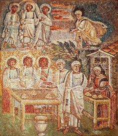 Panel with mosaic depicting hospitality of Abraham, central nave, Basilica of Santa Maria Maggiore, Rome, Italy, 5th century