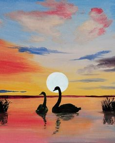 Learn to Paint Swans and Cattails tonight at Paint Nite! Our artists know exactly how to teach painters of all levels - give it a try! Easy Paintings, Landscape Paintings, Pastel Art, Learn To Paint, Art Sketchbook, Painting & Drawing, Swan Painting, Lake Painting, Painting Inspiration