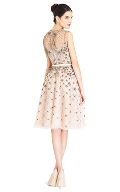 Tulle Illusione Sleeveless Dress w/ Silver Beading