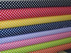 Puntos de Riley Blake pequeño puntos tela paquete, blanca en varios colores, incluyendo negro, rojo, amarillo, azul marino, lavanda, caliente rosa, Lima y naranja tela por la yarda. 36 x 44, tela 100% algodón. Si más de una yarda de tela se ordena que corte una pieza continua. Todas