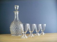 Decanter and Liquor / Cocktail Glasses, Vintage Barware Set, Hobnail, Boopie, Candlewick, Clear Glass