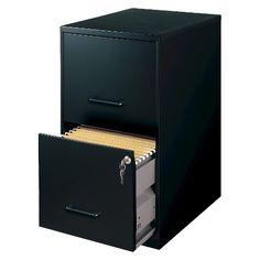 HIRSH Black Vertical 2-Drawer Filing Cabinet Metal for a diy office table only 37.99 at target.com