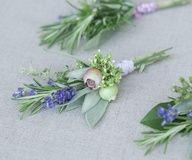 diy wedding corsage with lavender