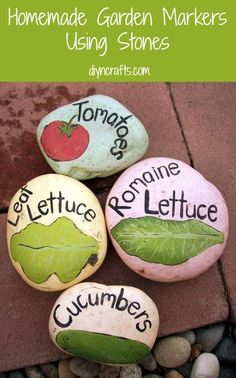"Summer Garden DIY Project – Homemade Garden Markers Using Stones - Another pinner said ""all the paint on mine has mostly chipped and cracked"". Use protective seal before adding them to the garden."