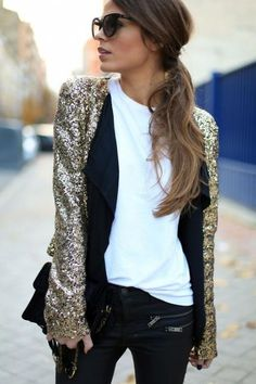 Gold sequin blazer