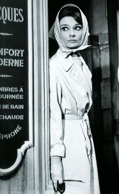 audrey hepburn looking beautiful in a classic women's trench coat!