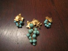 Boucher Brooch and Earrings with Faux Turquoise Grapes and Gold Plated Leaves by HeartoftheSouthwest on Etsy