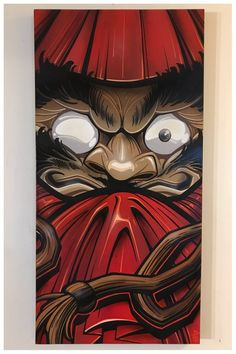 """The Daruma doll! 18"""" x 36"""" acrylic and spray on canvas. Sealed with a UV and archival matte varnish, 1.5 inch trimmed black gallery wrapped canvas...."""