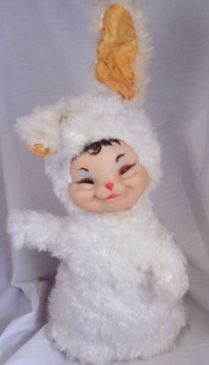Rushton Wind Up Rubber Face Baby Bunny Rabbit