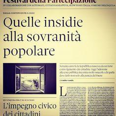 Oggi due belle pagine su partecipazione e attivismo in vista del I Festival della partecipazione a L'Aquila dal 7 al 10 luglio #fdp2016 #iopartecipo