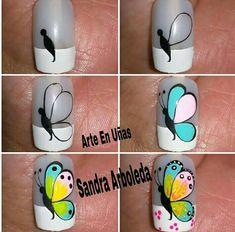Nail Art Designs Videos, Nail Art Videos, Simple Nail Art Designs, Nail Designs, Butterfly Nail Art, Rose Nail Art, Rose Nails, Hello Nails, Cute Spring Nails