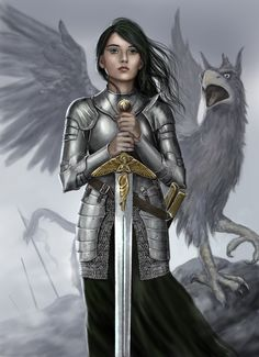 Female Knight and Griffin by dashinvaine.deviantart.com on @deviantART