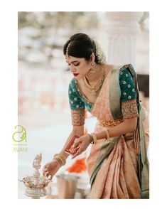 Check out this brand for the latest bridal silk saree blouse designs for weddings and festivals. Bridal Sarees South Indian, Indian Bridal Outfits, Indian Bridal Fashion, Indian Bridal Wear, Indian Sarees, Silk Sarees, Indian Fashion Jewelry, Saris, Indian Wedding Sarees