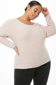 babaafaa2 NEW Forever 21 Plus Size Marled Pink Casual Long Sleeve Ribbed Knit Top 3X  #fashion