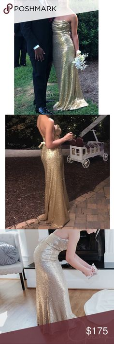 367467cb9a6 ANA SOPHIA gown - OFFERS ACCEPTED gold sequin gown. worn once. perfect for  prom