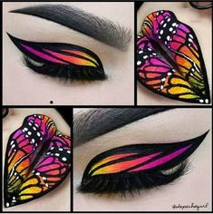 Butterfly makeup Lippenstift, , Butterfly makeup Schmetterling make-up Butterfly Makeup. Eye Makeup Art, Colorful Eye Makeup, Lip Makeup, Prom Makeup, Fairy Eye Makeup, Makeup Meme, Makeup Drawing, Yellow Makeup, Contouring Makeup