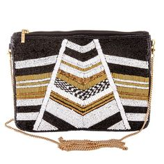 High quality black, gold and white geometric seed beaded handbag. - Zipper closure - One inside open pocket - Inside lining Cotton - Approximately W x T - Strap approximately L - Approximately L overall - Seed beads, Cotton Canvas, Metal Fashion Accessories, Fashion Jewelry, T Strap, Fashion Boutique, Cotton Canvas, Seed Beads, Black Gold, Latest Fashion, Zip Around Wallet