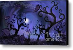 Illustration Print Of Spooky Forest Of Curly Trees Canvas Print / Canvas Art By Sassan Filsoof