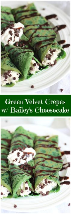 Subtle cocoa Green Velvet Crepes with Baileys Chocolate Chip Cheesecake Filling! Easy Desserts, Delicious Desserts, Dessert Recipes, Yummy Food, Cheesecake Recipes, Crepes And Waffles, Chocolate Chip Cheesecake, St Patricks Day Food, Irish Recipes