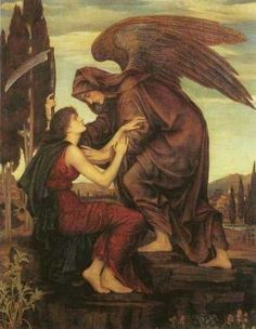 Archangel of Death is by Evelyn de Morgan,1855-1919, English Pre-Raphaelite painter. With black wings and no halo Archangel Azrael represents death and rebirth in Islamic tradition and folklore.