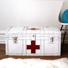 hmmm...DIYable? - antique red cross medical trunk. $194.00, via Etsy - lacklusterco