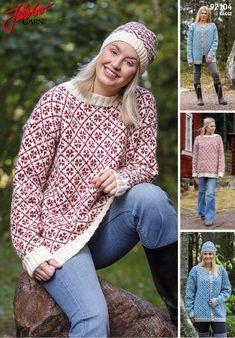Women's cardigan or sweater. Drops Baby Alpaca Silk, Norwegian Knitting, Fair Isle Knitting, Drops Design, Nordic Style, Mittens, Knit Crochet, Knitwear, Knitting Patterns