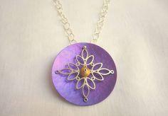 Handmade pendant rond purple green blue fushia modern style pendant handmade necklace titanium woman silver color 86.00 EUR #goriani
